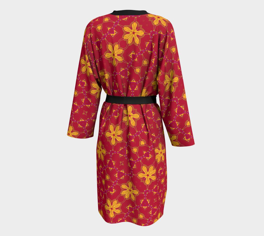 Aperçu de Boho Red and Yellow Floral Print Peignoir Robe #2