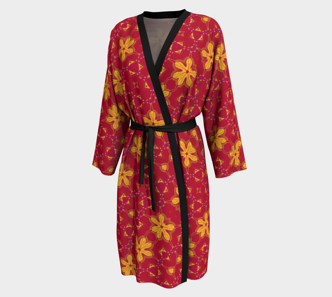 Aperçu de Boho Red and Yellow Floral Print Peignoir Robe #1