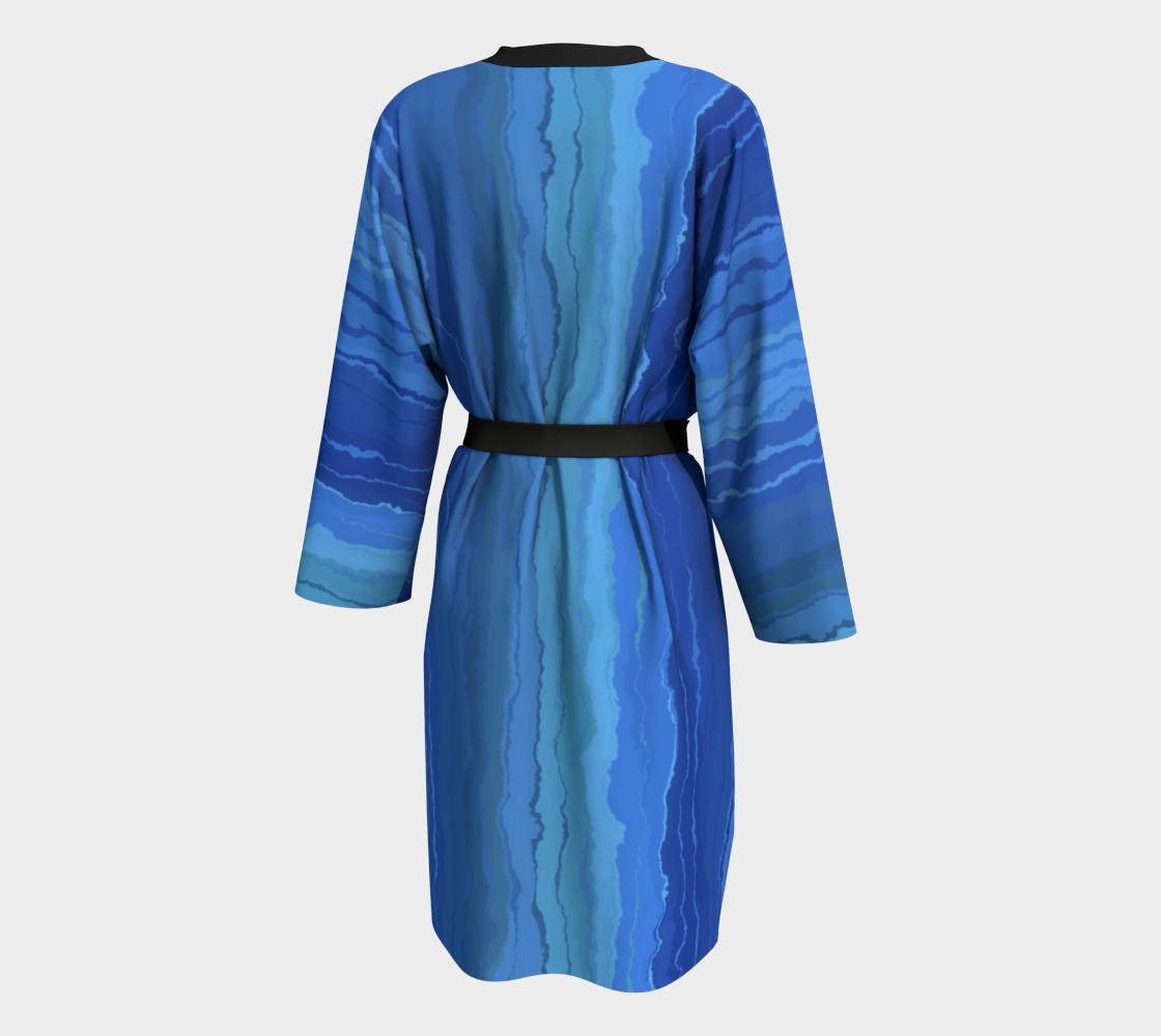 Aperçu de Blue Ombre Painted Stripes Peignoir Robe #2