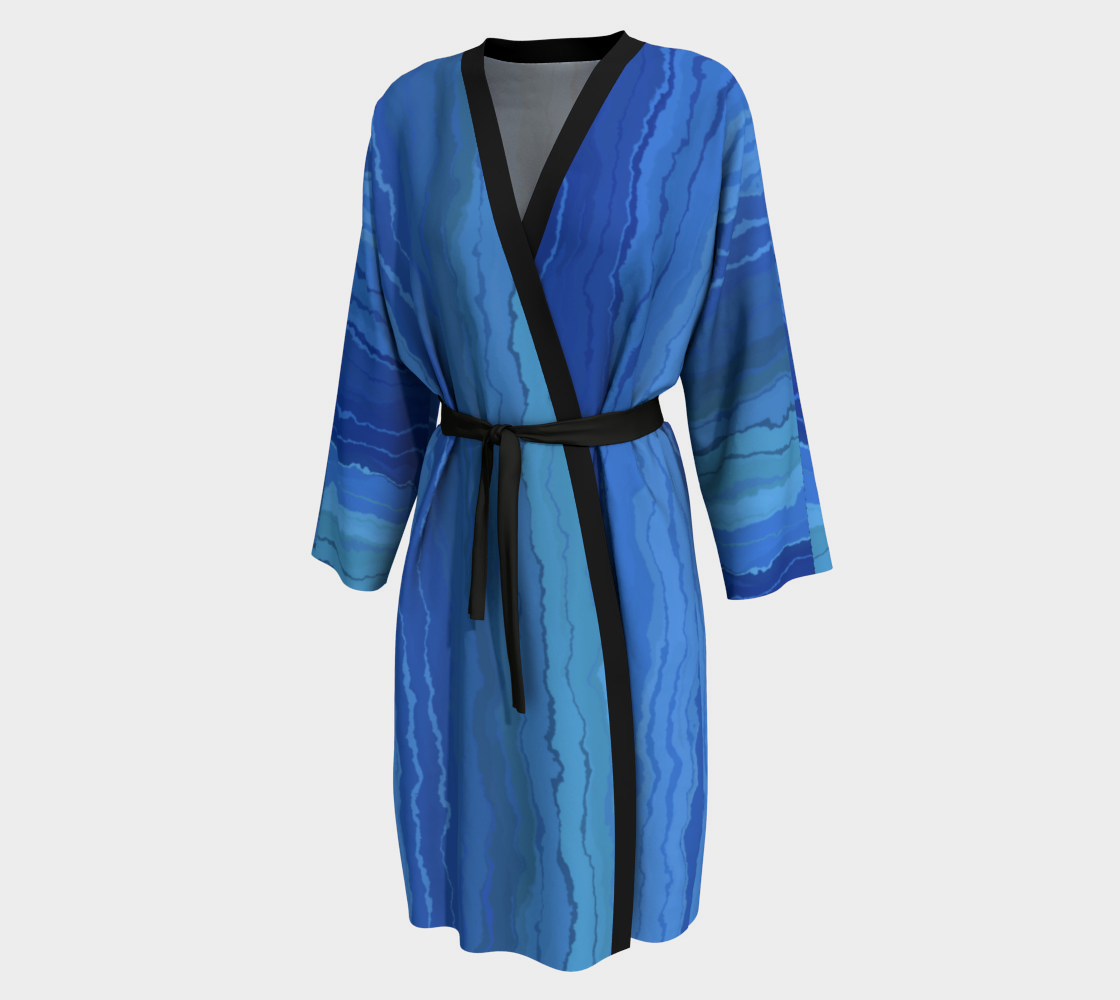 Aperçu de Blue Ombre Painted Stripes Peignoir Robe #1