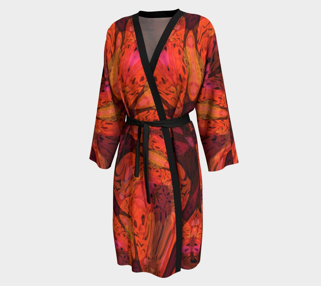 Aperçu de Abstract Floral Tiger Lily Peignoir Robe #1