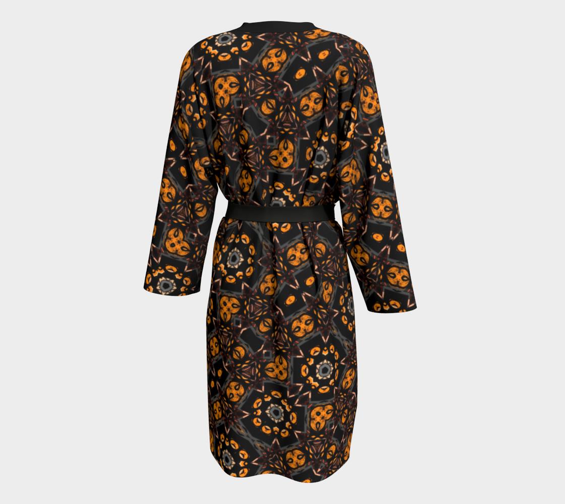Aperçu de Black and Gold Floral Peignoir Robe #2