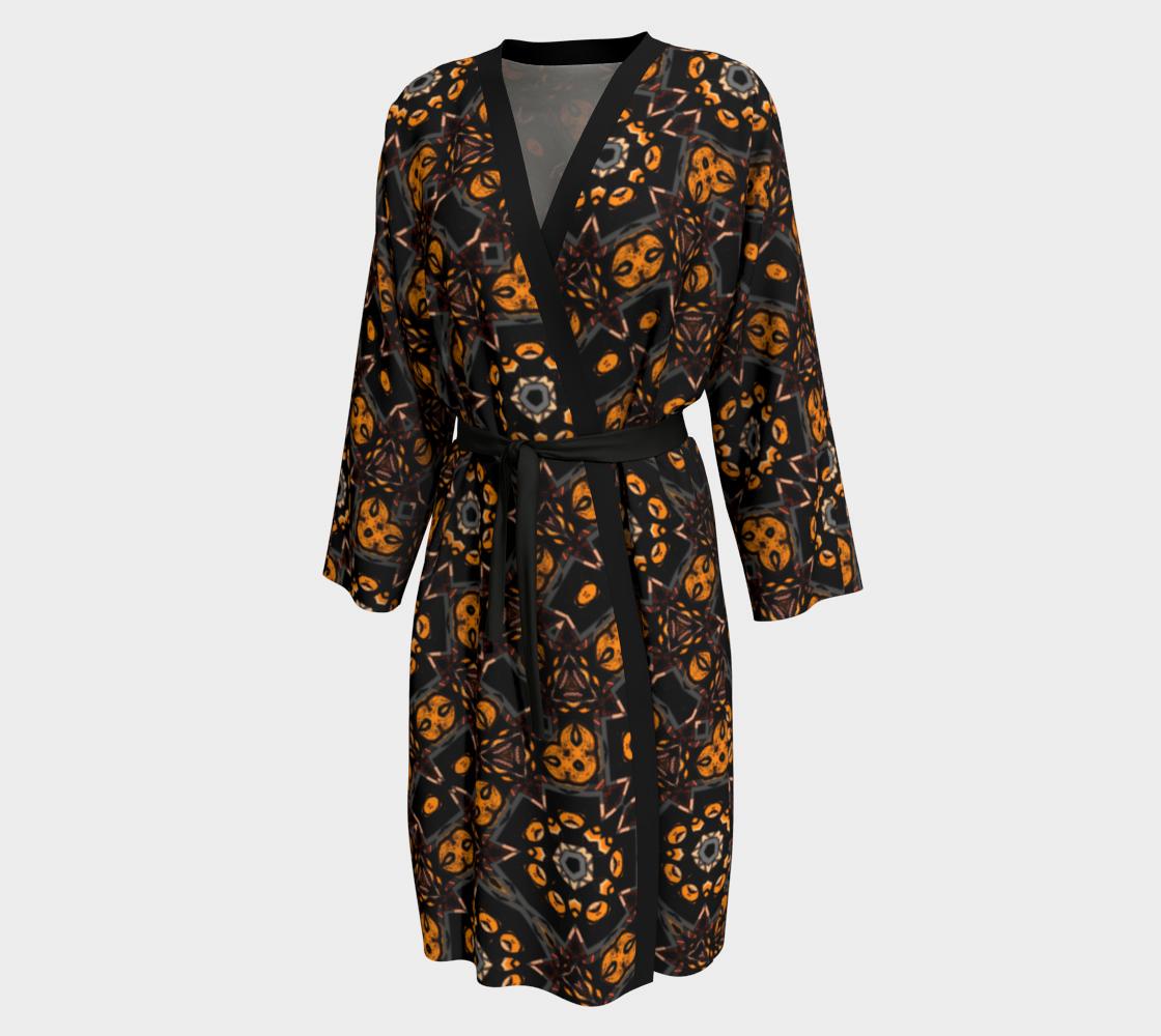 Aperçu de Black and Gold Floral Peignoir Robe #1