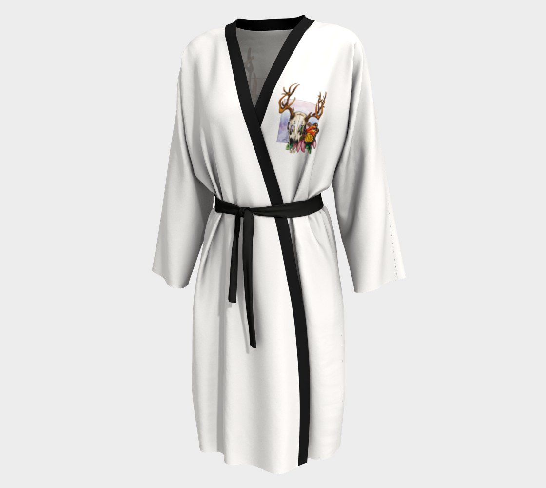 Deer Skull and Butterfly Robe - White preview