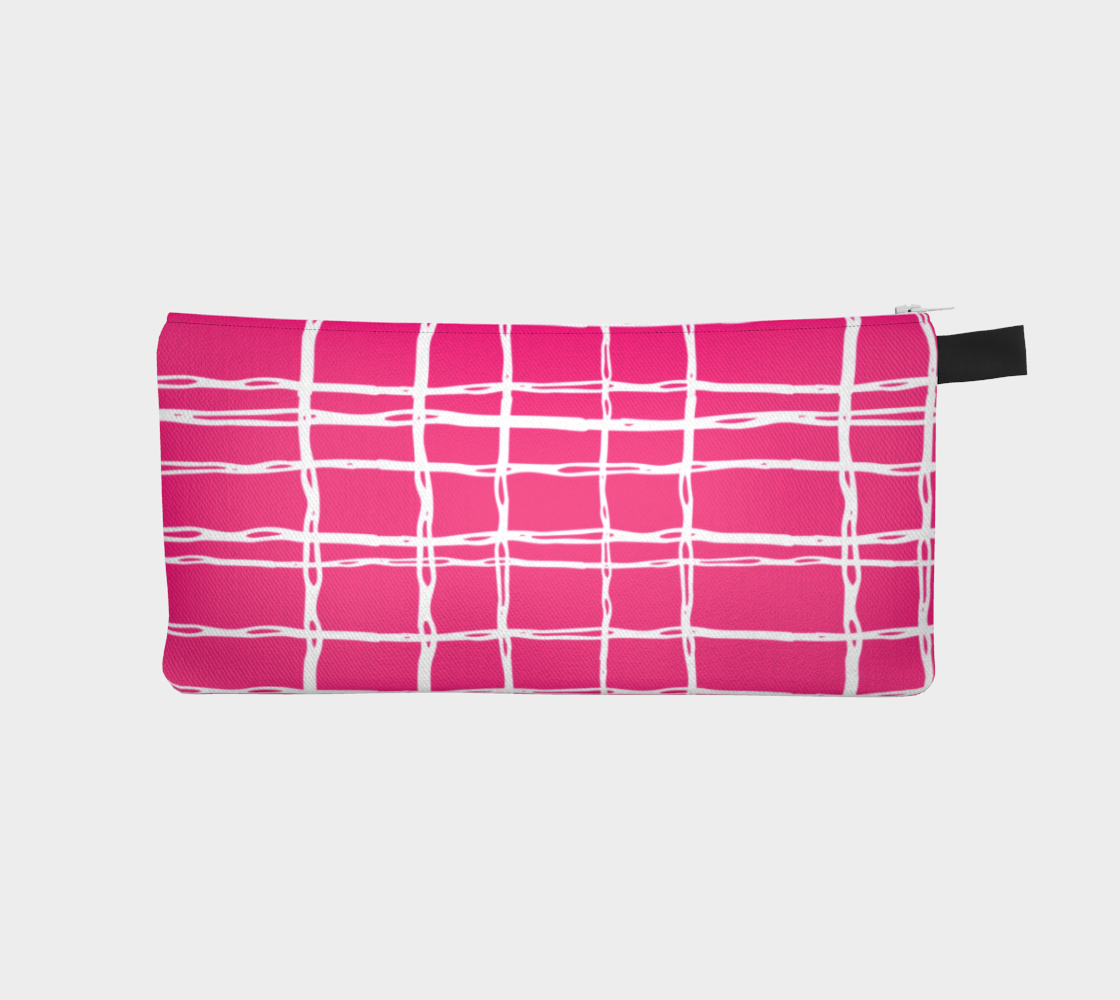 Pink and White Geometric Line Pattern Pencil Case preview