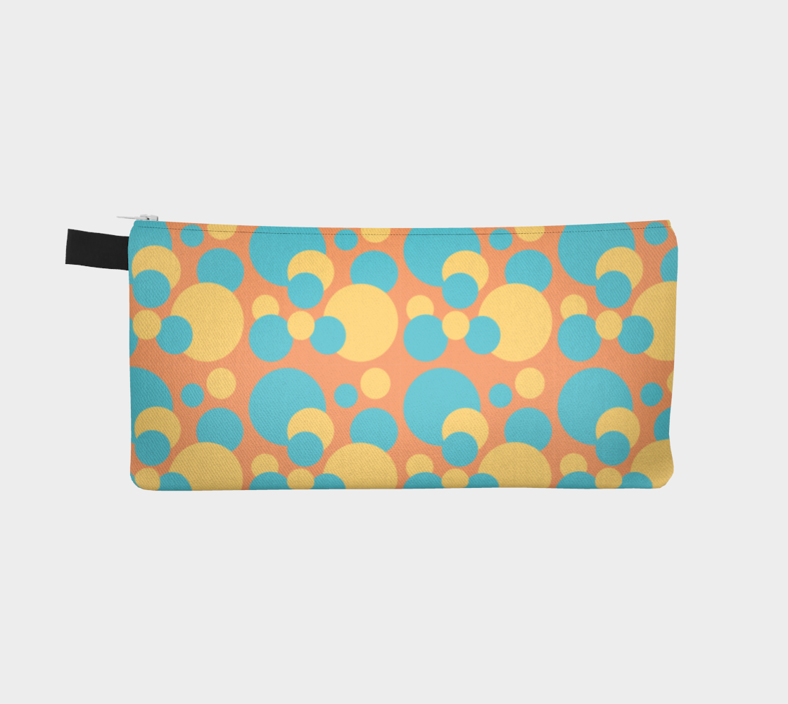 Retro Pencil Case in Blue and Yellow Dot Pattern preview #2