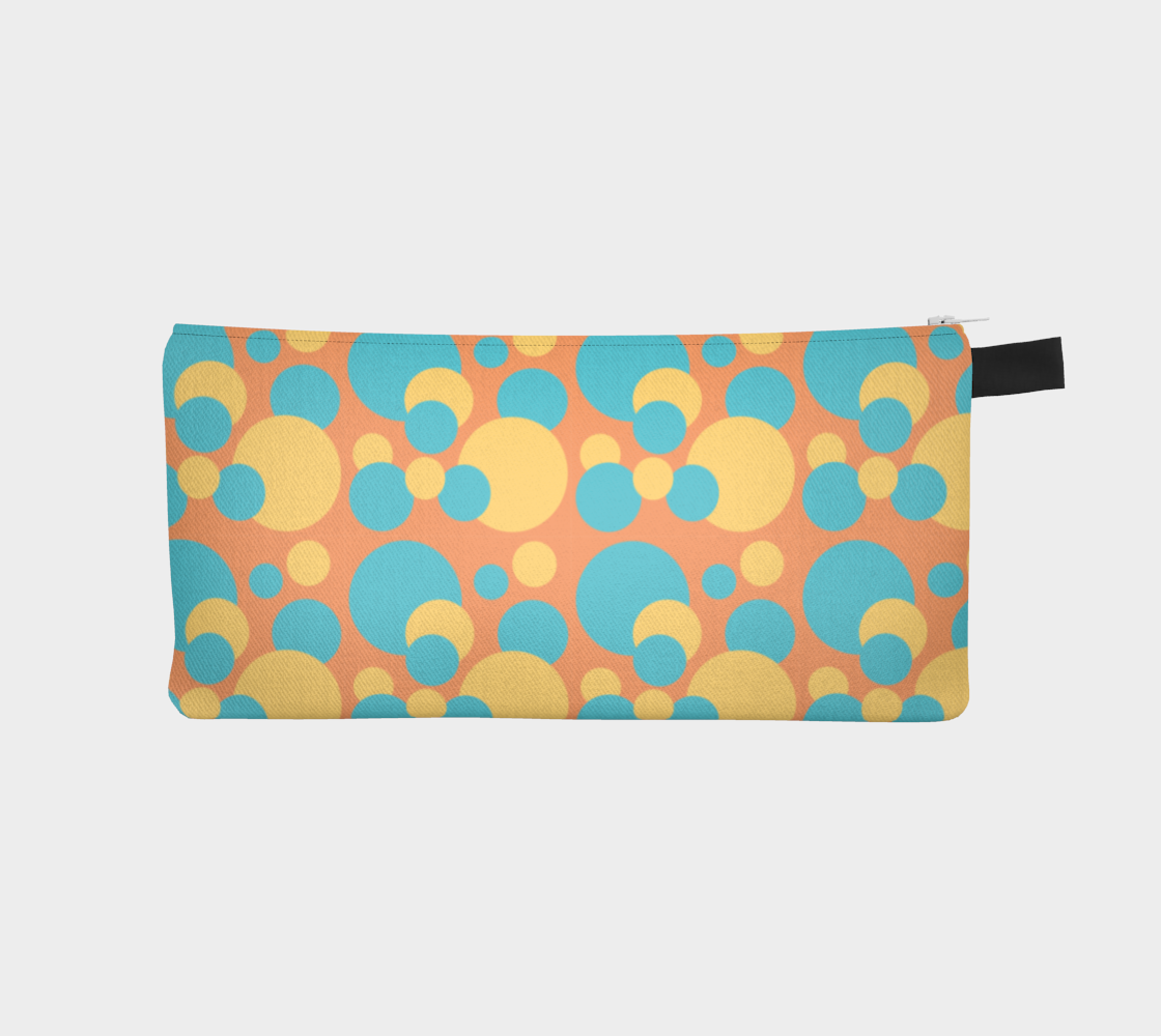 Retro Pencil Case in Blue and Yellow Dot Pattern preview