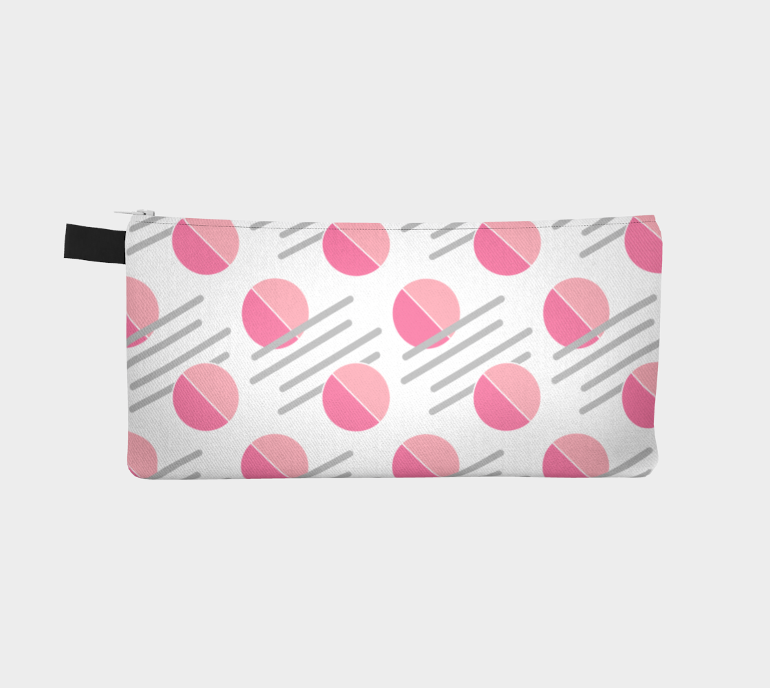 Modern Pink Circle Grey Line Abstract Pencil Case preview #2