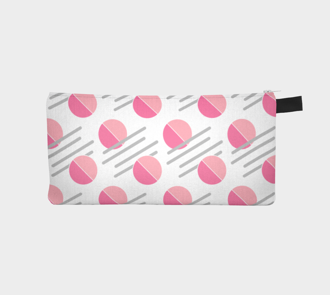 Modern Pink Circle Grey Line Abstract Pencil Case preview