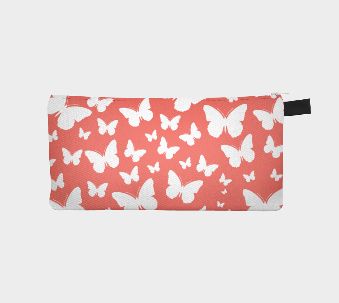 Butterflies in Coral and White Pencil Case preview