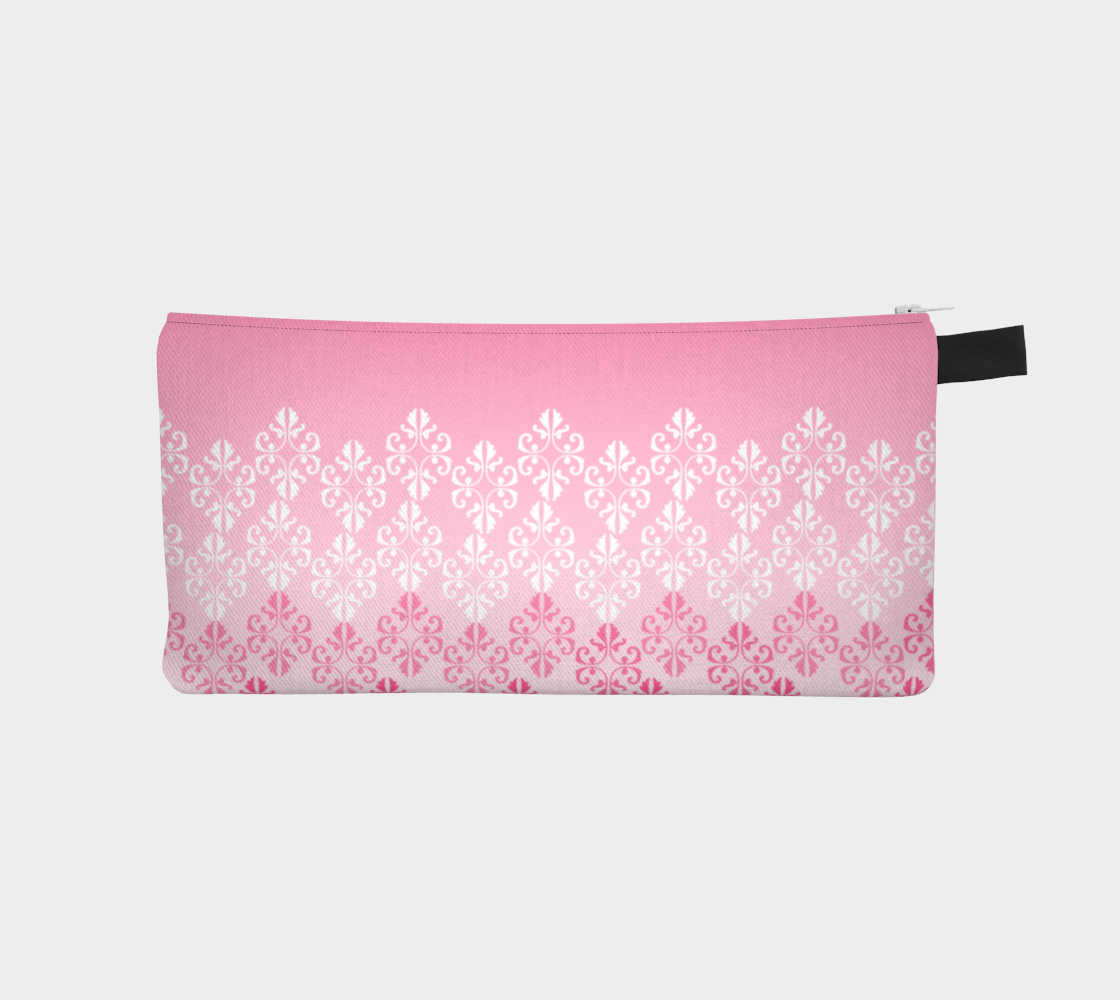 Pink Ombre Damask Pattern Pencil Case preview