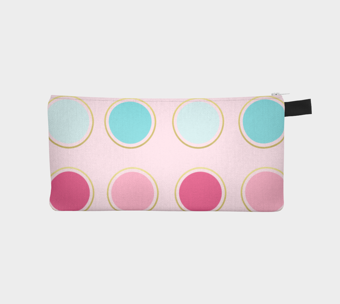 Pink and Teal Polka Dot Pencil Case preview