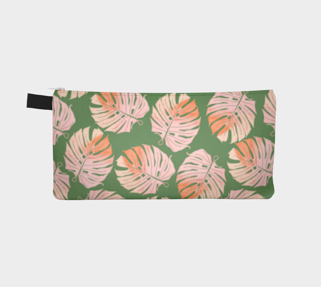 Tropical Leafs in Green and Coral Pencil Case preview #2