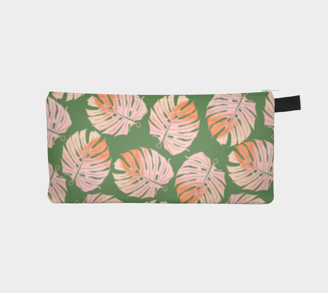 Tropical Leafs in Green and Coral Pencil Case preview #1