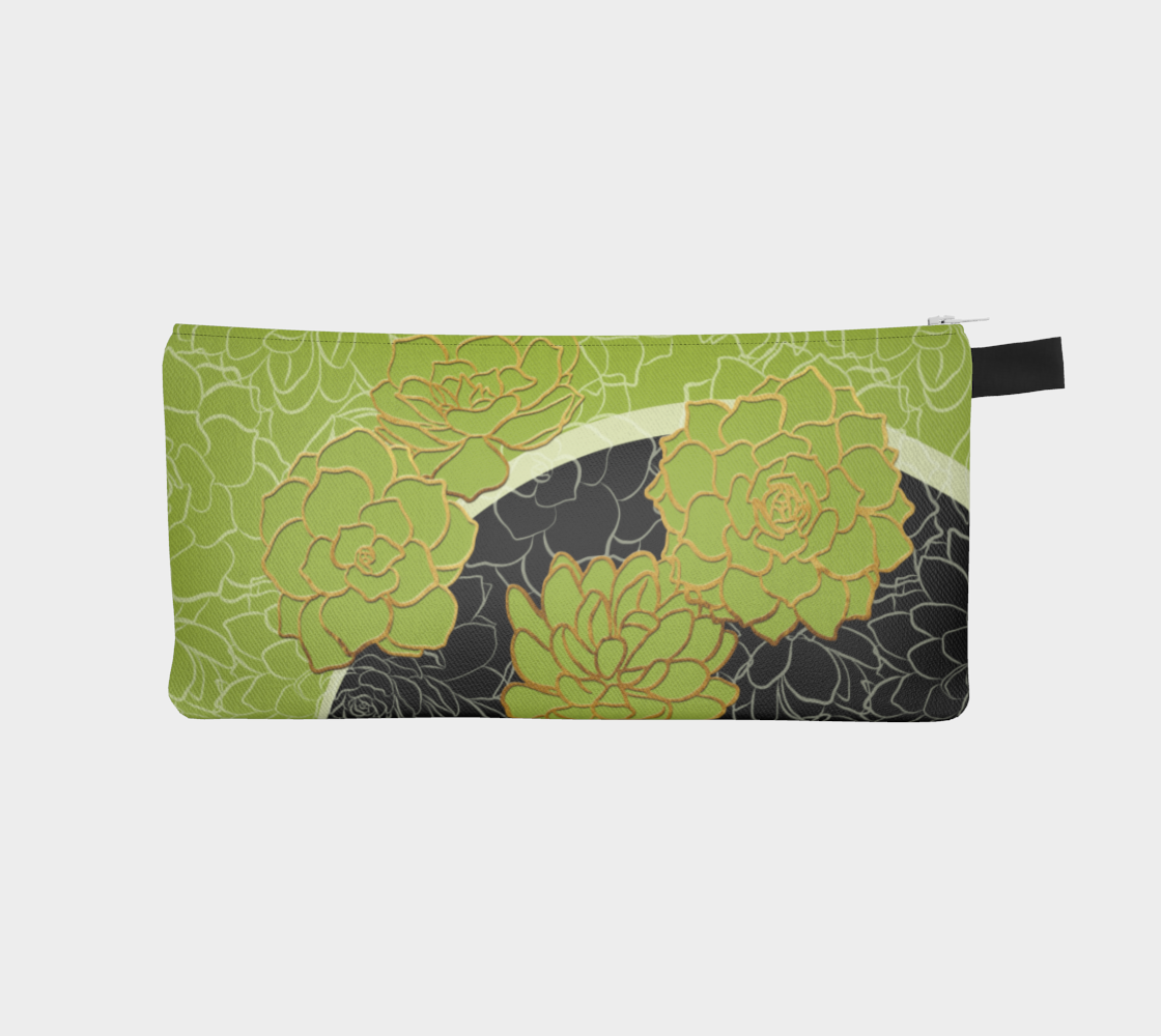 Golden Flowers on Happy Green – pencil case preview