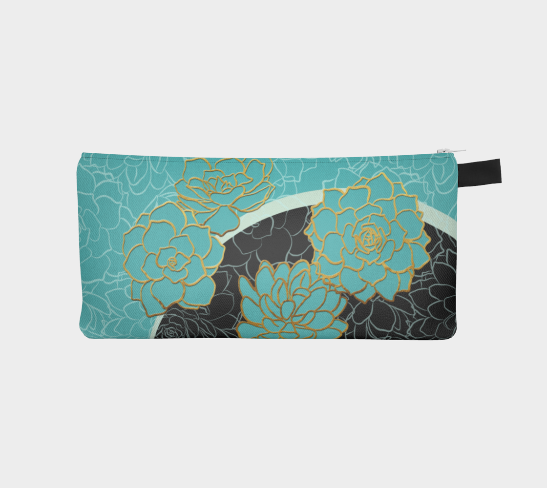 Golden Flowers on Luxury Blue – pencil case preview