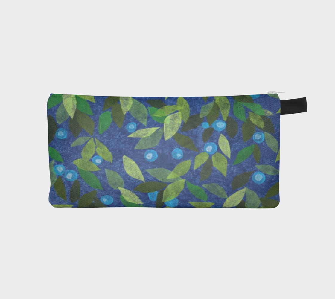Aperçu de Blue Berries Green Leaves Papercut Pattern Pencil Case