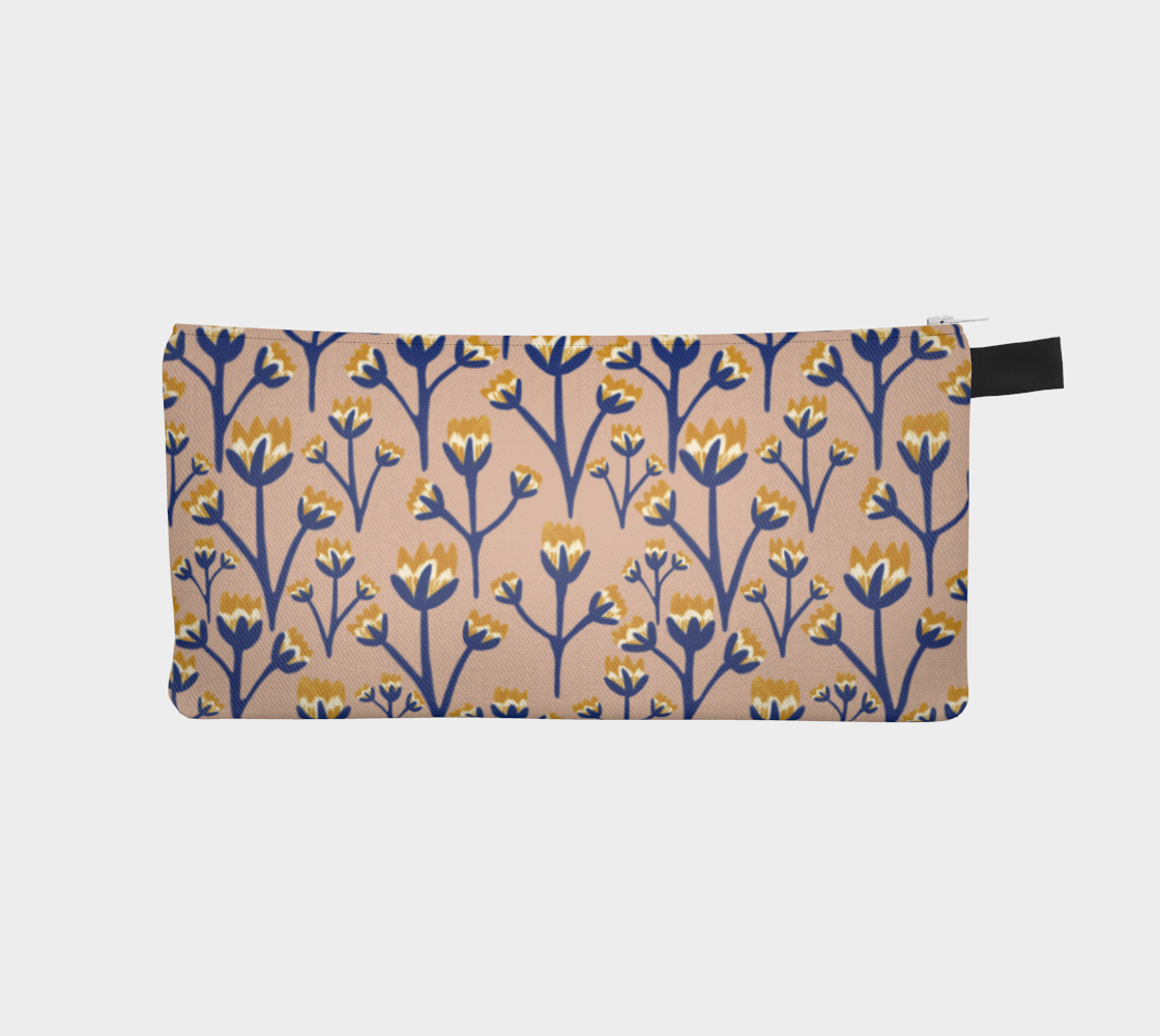 Floral Blue and Ochre pattern with Pastel Pink Background preview