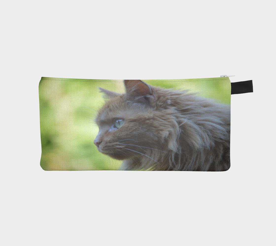 Aperçu de Green Eyes Ginger Cat Pencil Case