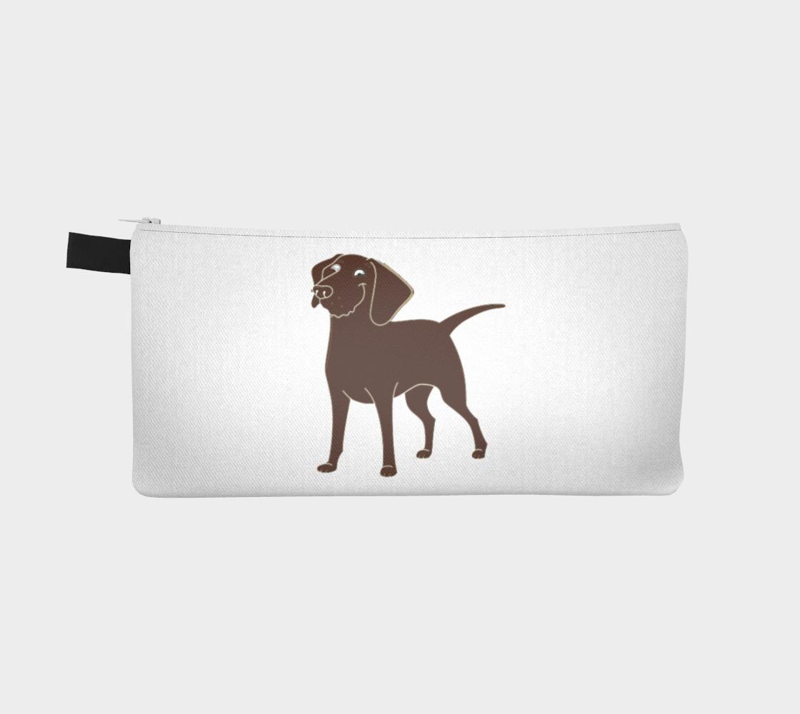 Labrador Retriever chocolate cartoon pencil case preview #2
