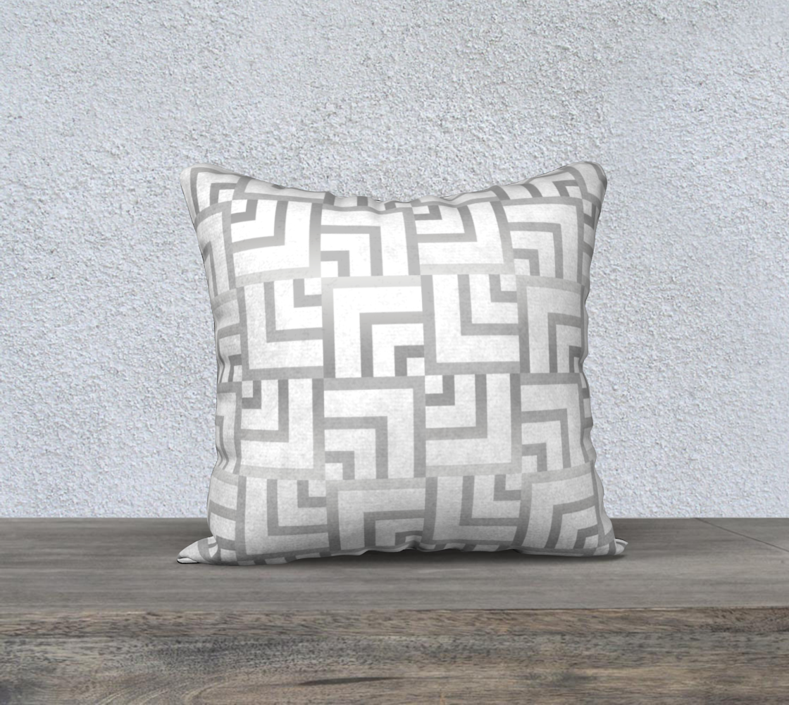 """White and Silver Squares 18"""" x 18"""" Pillow Case preview"""
