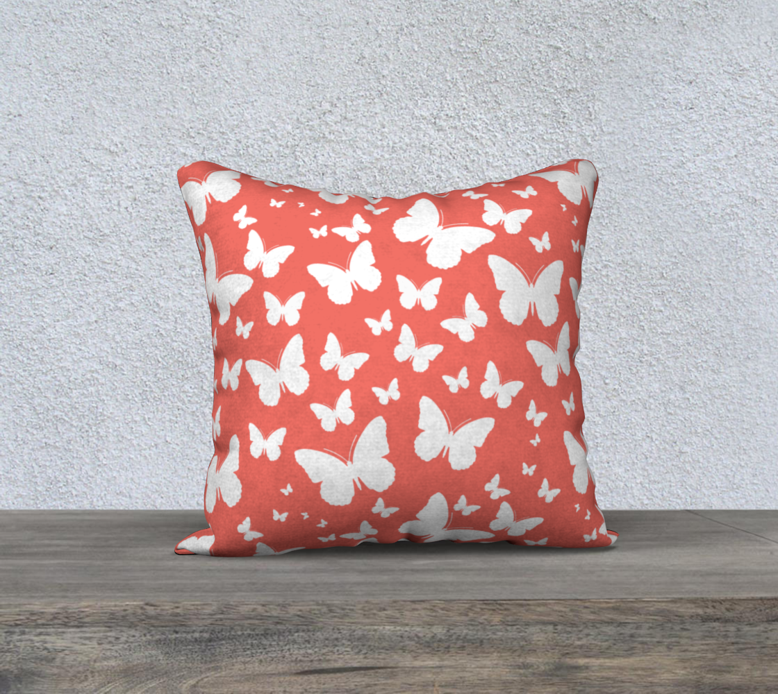 Butterflies in Coral and White Pillow Case 18 preview