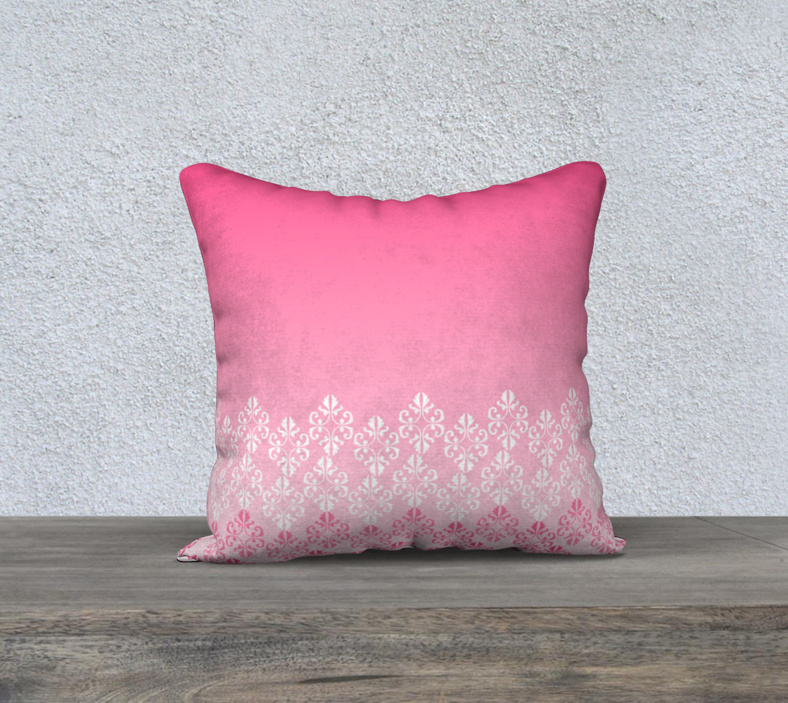 Pink Ombre Damask Pattern Pillow Case 18 preview