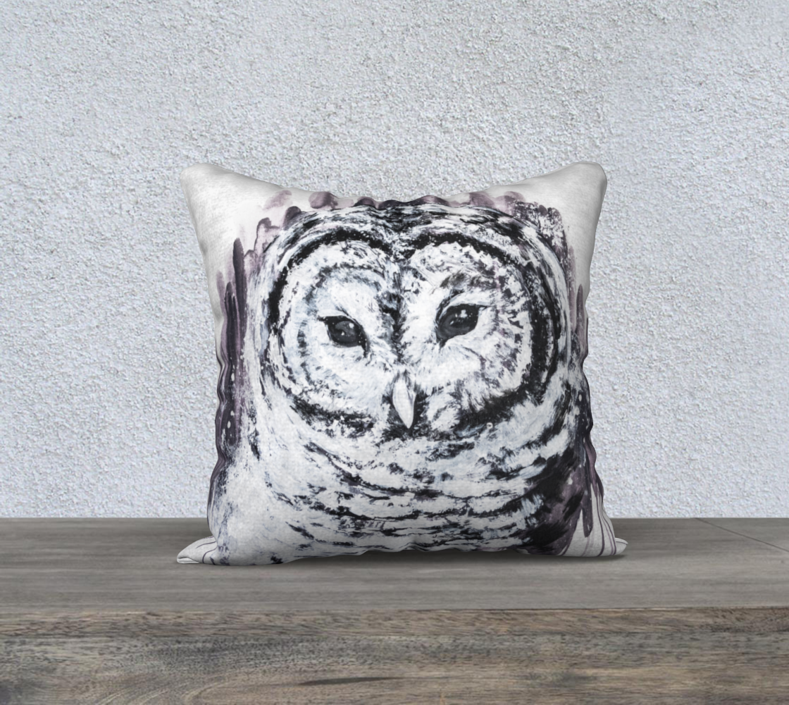 "Snow owl 18"" pillow preview"