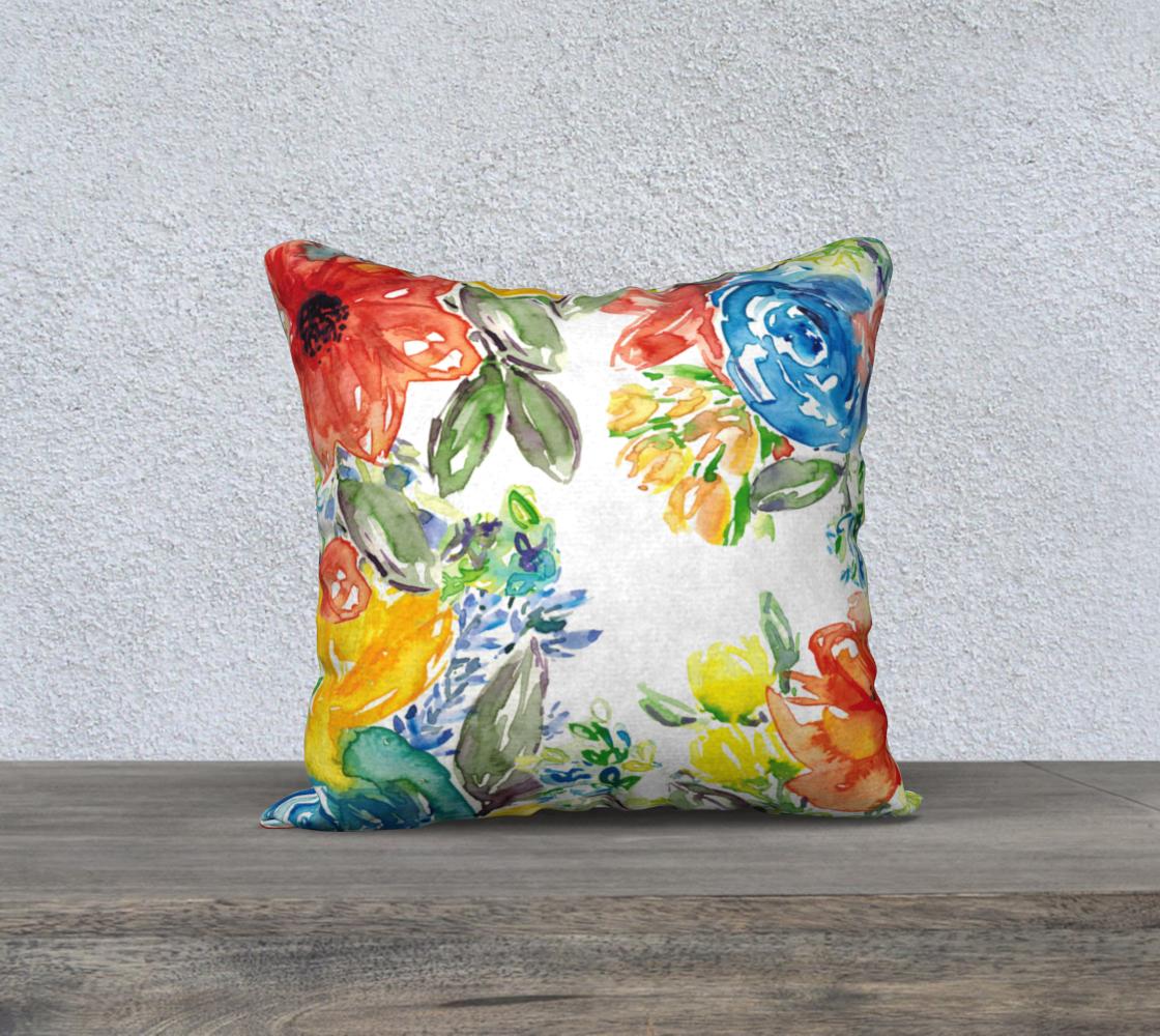Aperçu de Vibrant Watercolor Pillow 18x18