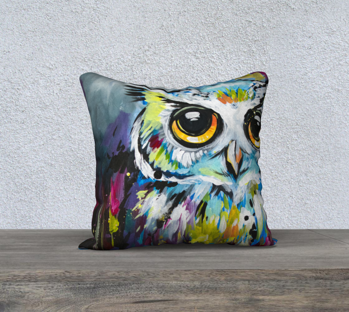 rainbow owl pillow preview
