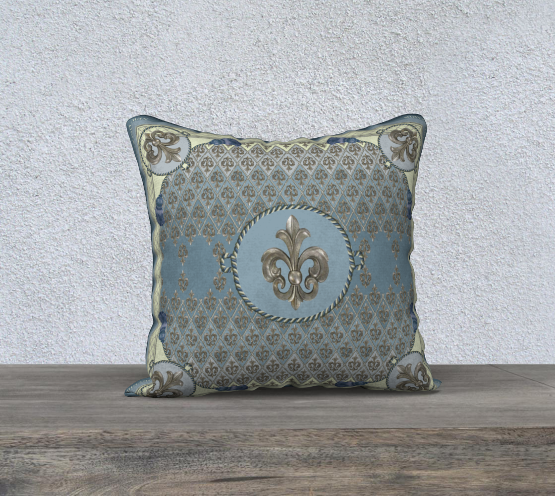 "Aperçu de Pale Blue Fleur D'Lys Square 18"" Cushion #2"