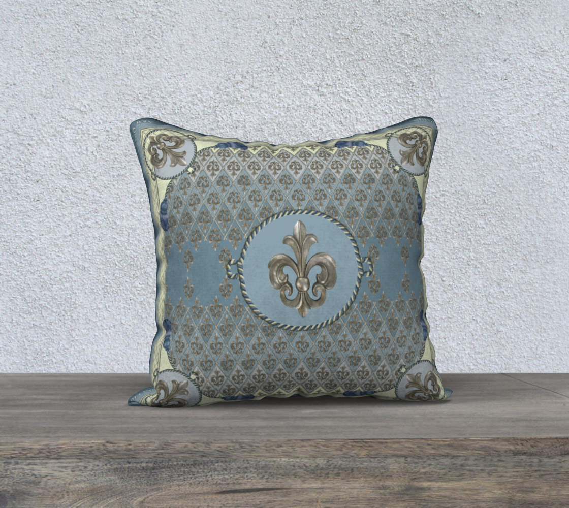"Aperçu de Pale Blue Fleur D'Lys Square 18"" Cushion #1"