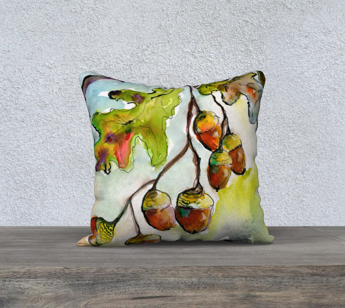 Acorns and Oak Leaves Pillow front painting back Pattern preview