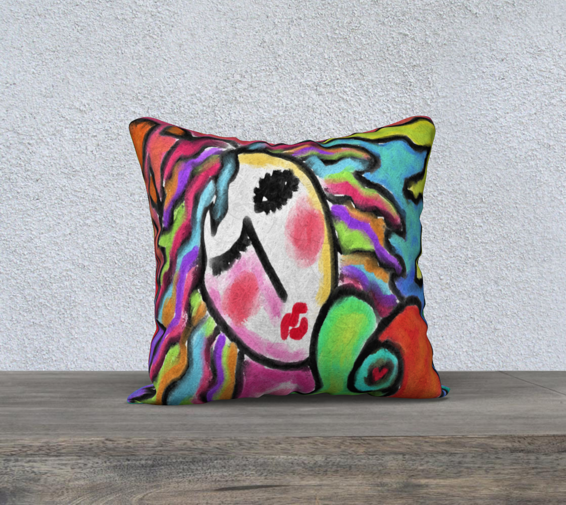 Aperçu de Wild One Abstract Portrait of a Woman Pillow Cover