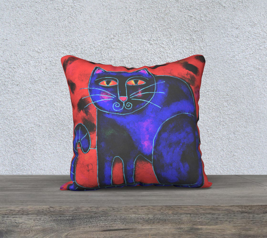 Aperçu de Funky Cat Abstract Pillow Cover