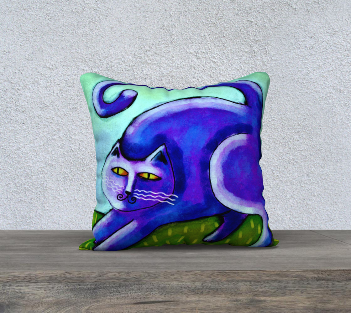 Aperçu de Abstract Purple Cat Pillow Cover