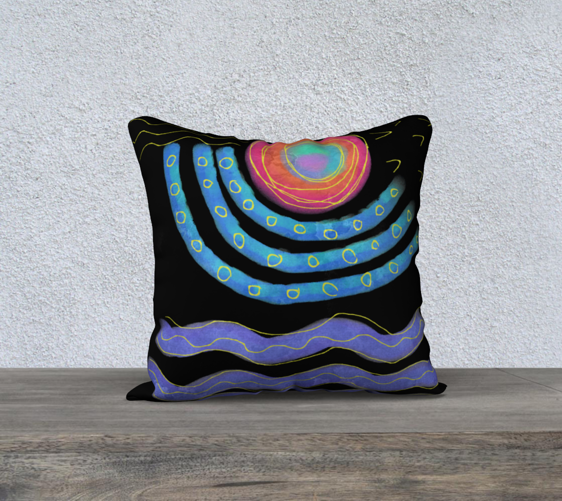 Colorful Abstract Sun Digital Print Pillow Cover preview