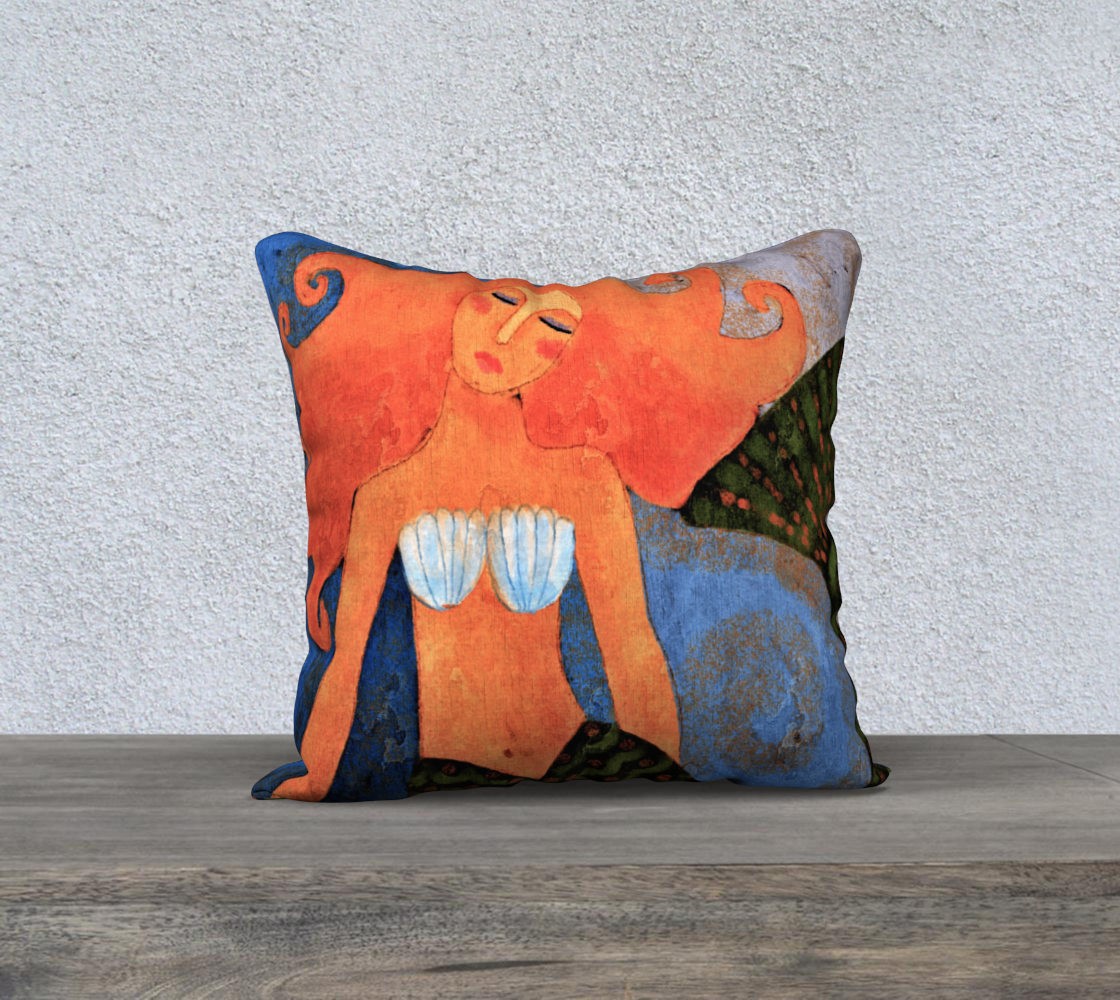 Aperçu de Lovely Mermaid Abstract Digital Painting Pillow Cover