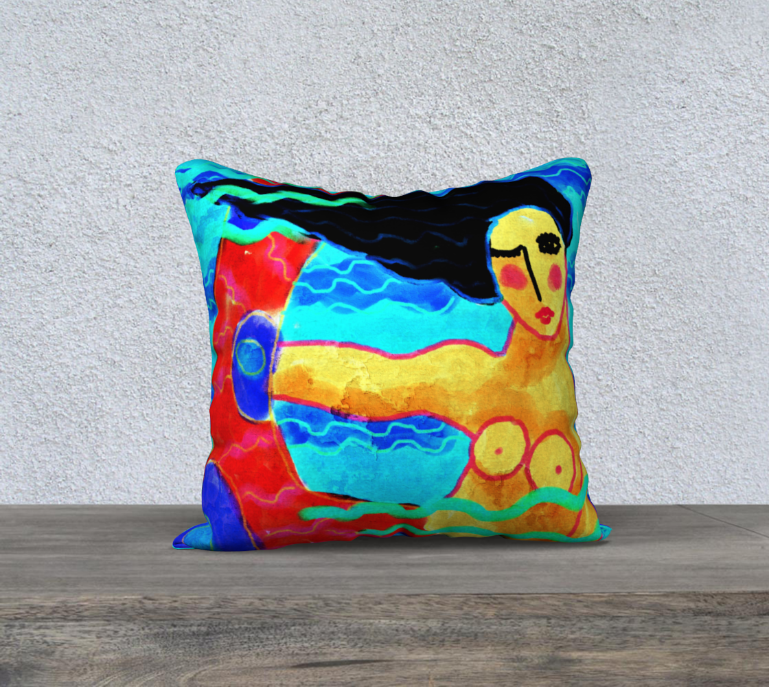 Funky Abstract Mermaid Art Print Pillow Cover preview