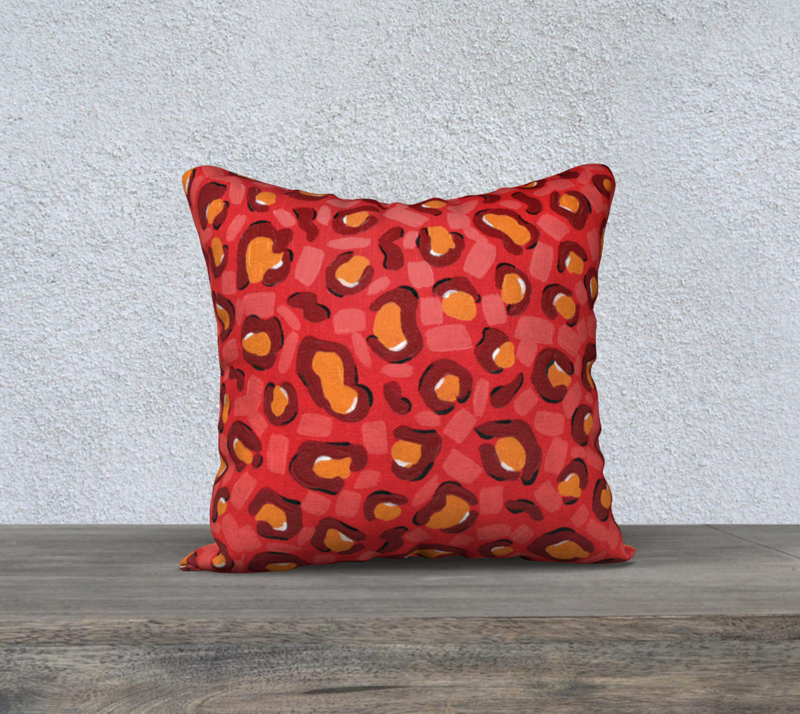"""Spicy Leopard (Painting) 18"""" Pillow Case preview"""