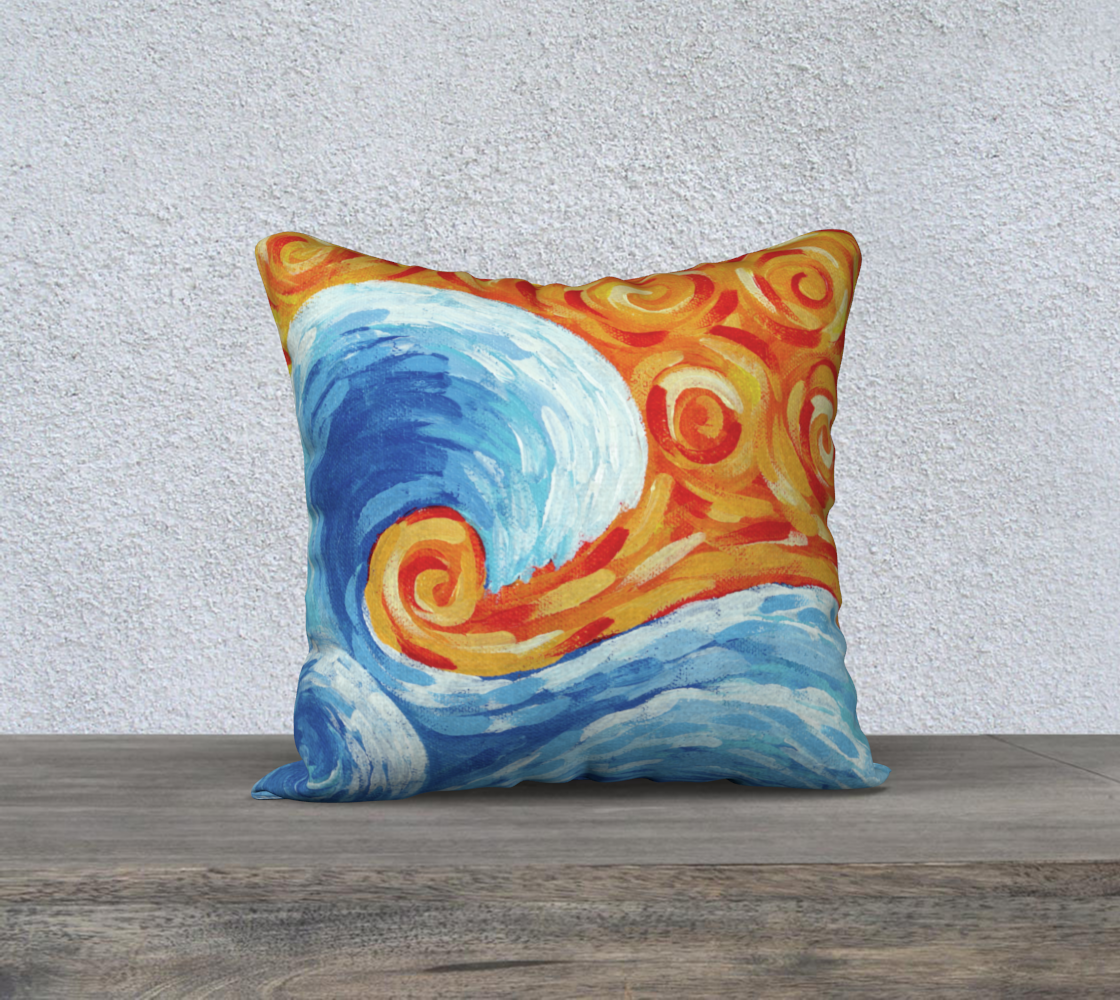 """Wave (Painting) 18"""" Pillow Case preview"""
