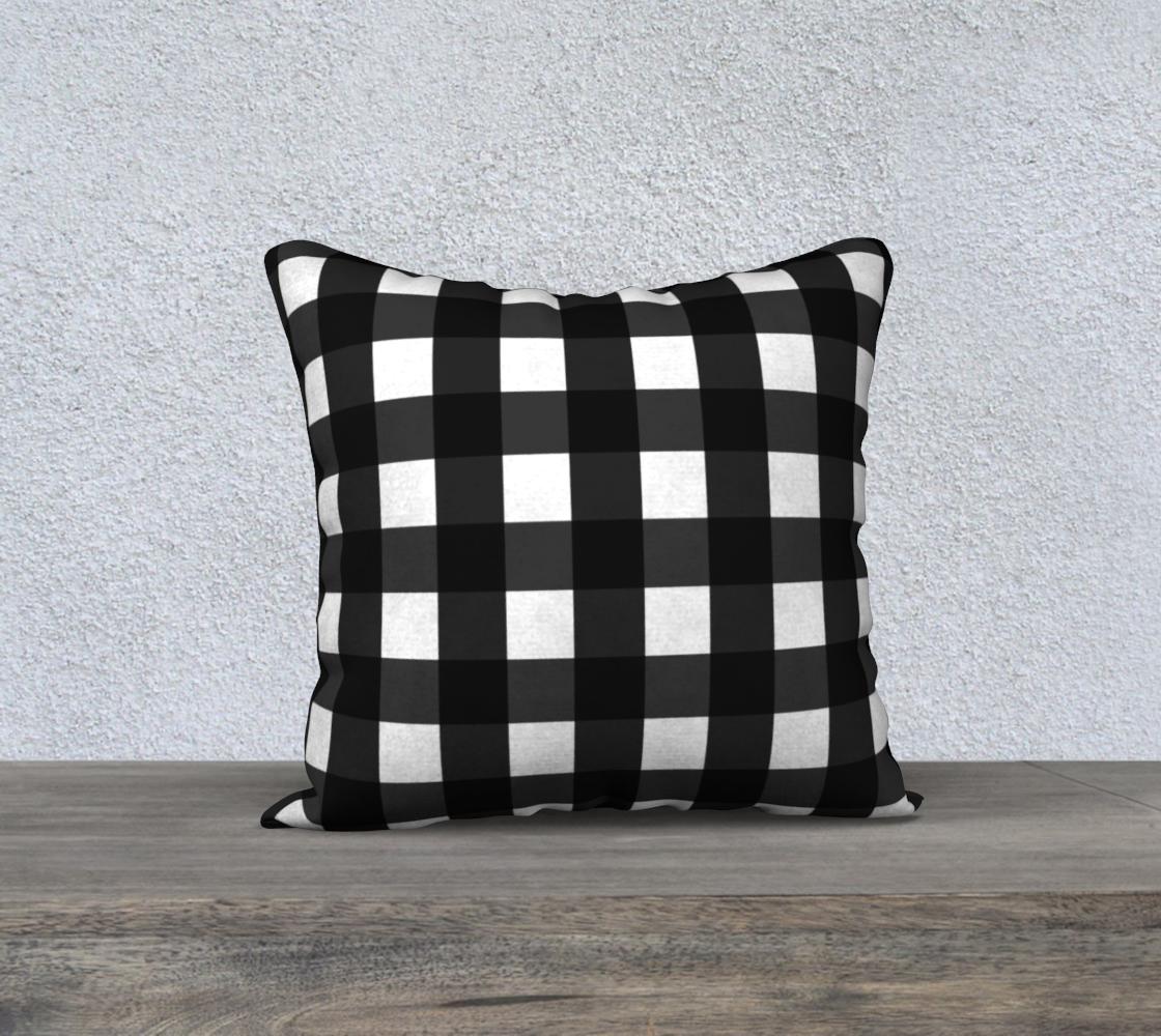 Aperçu de Black and White Gingham Check Pillow 18x18