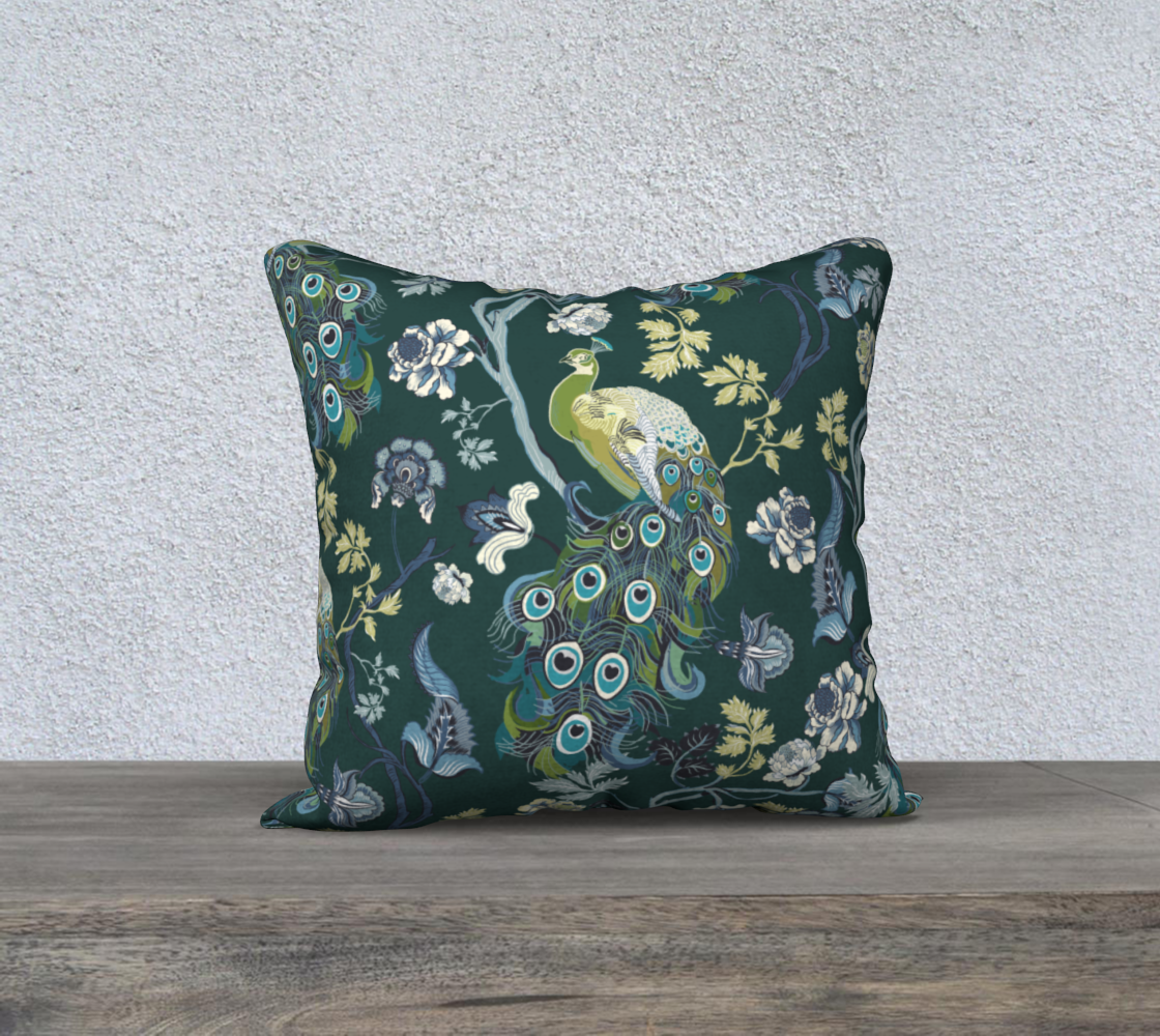 Chinoiserie Blue - peacock teal 18x18 preview