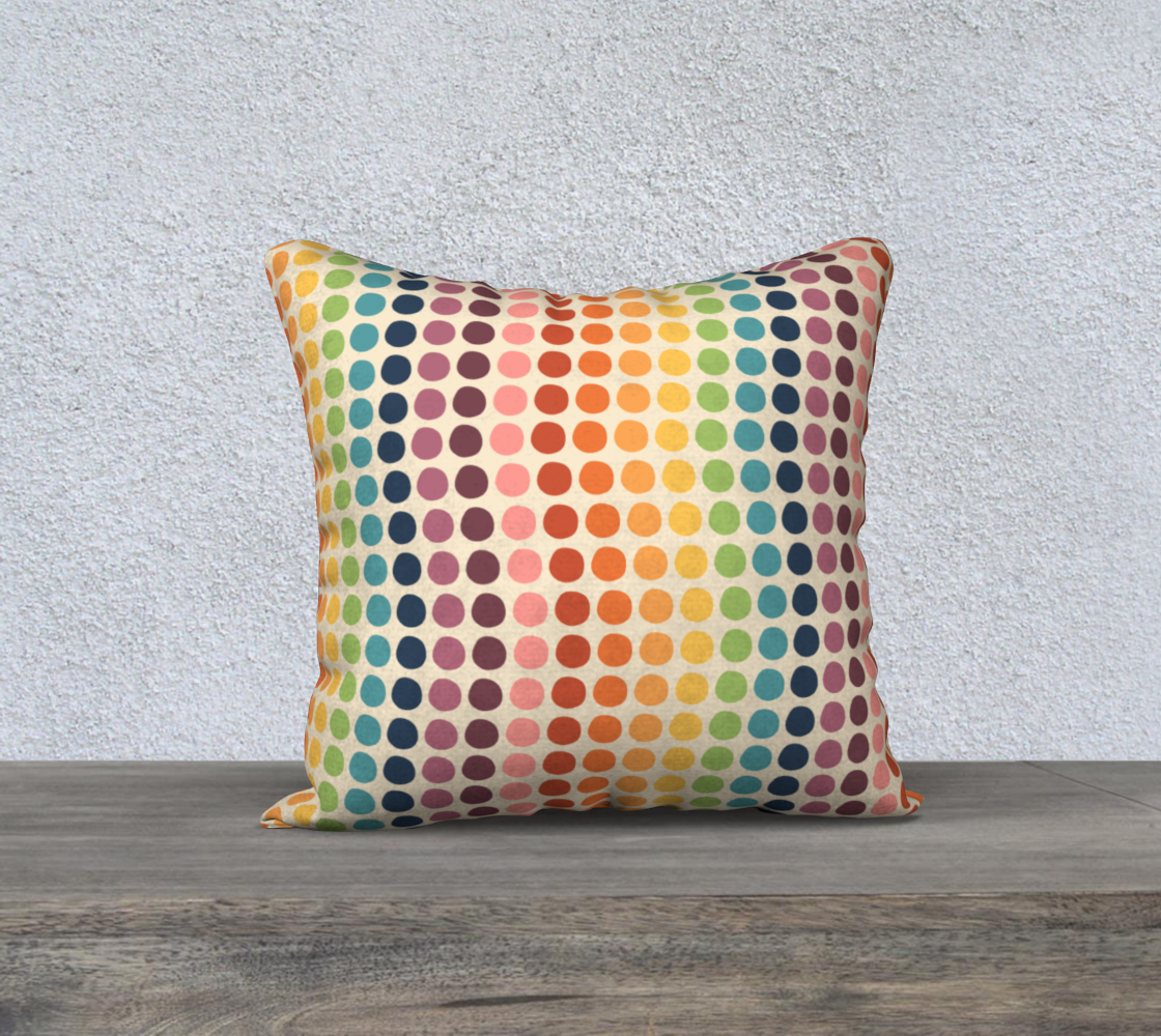 """Wacky Wavy Rainbow Dots Throw Pillow Cover- 18"""" preview"""
