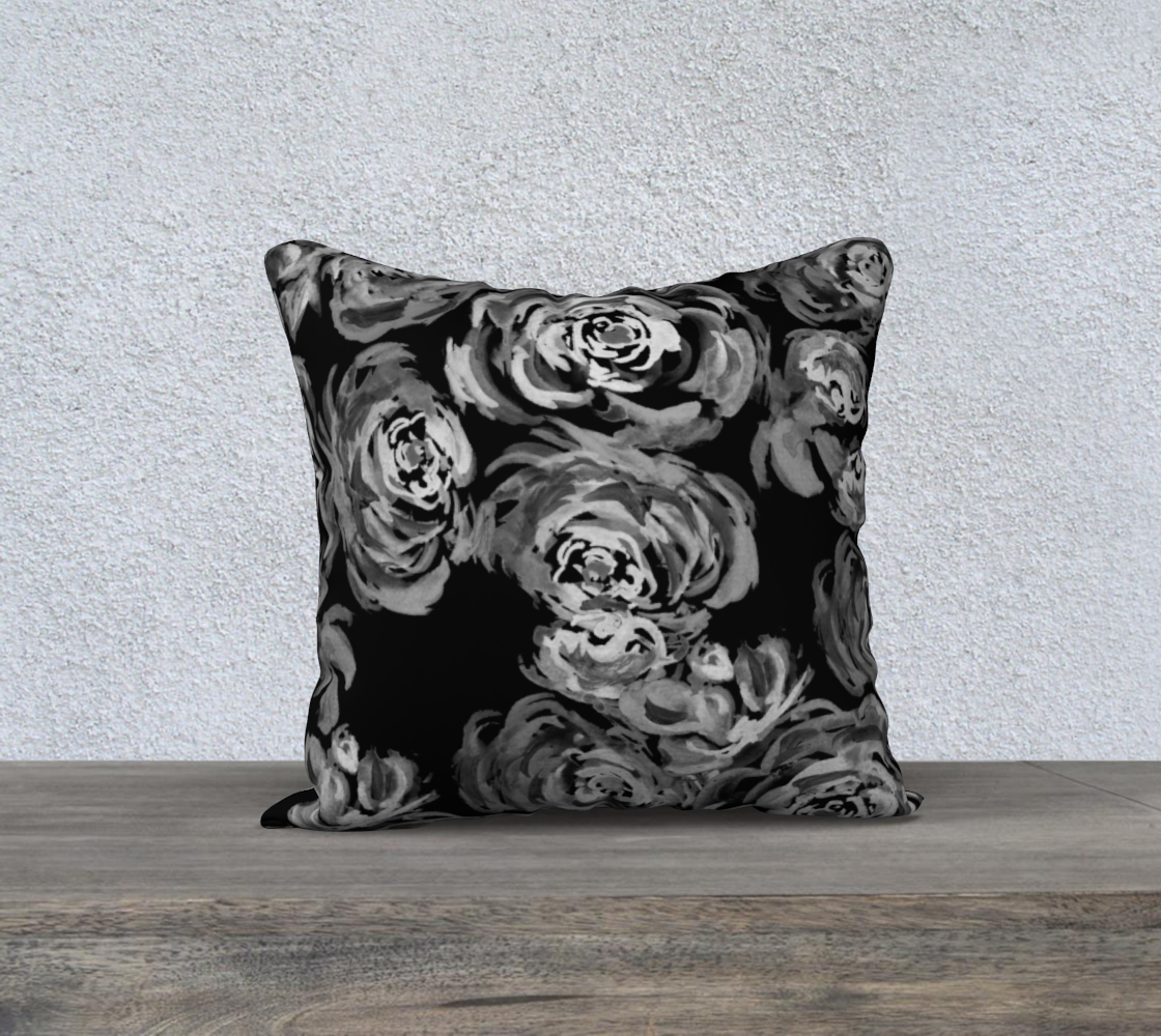 Monochrome Roses Pattern Pillow preview