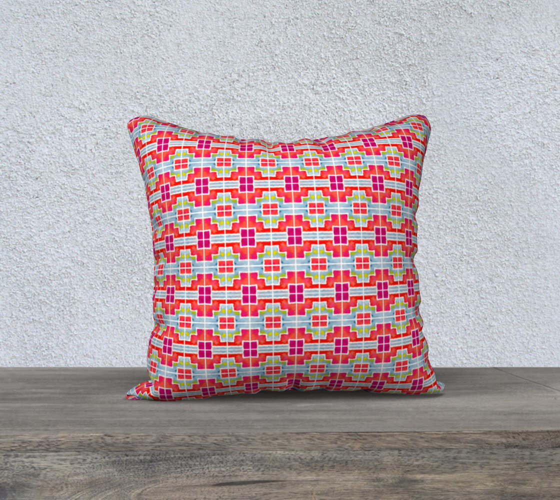 Red and Blue Mosaic Tiles Pattern Pillow Case preview