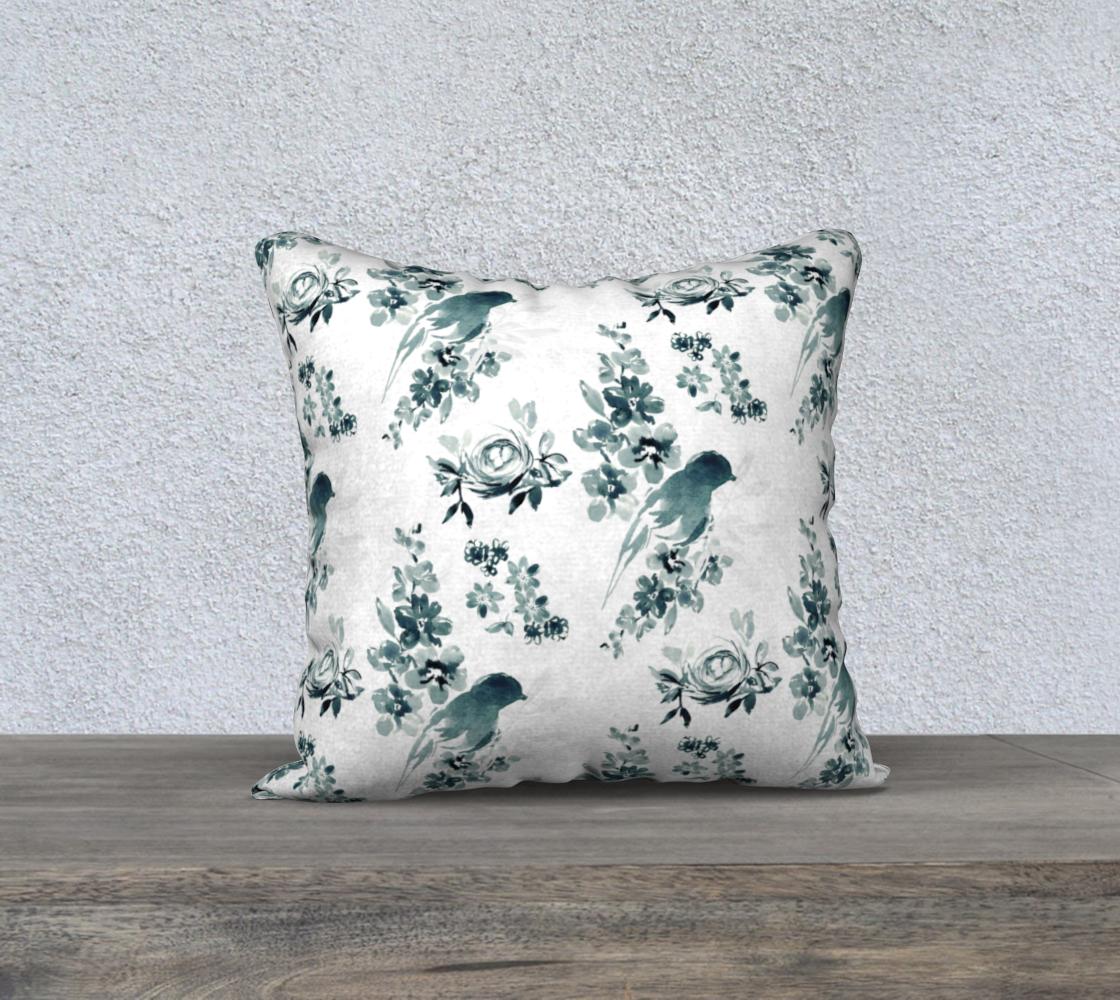 Aperçu de blue and white bird pillow 18x18
