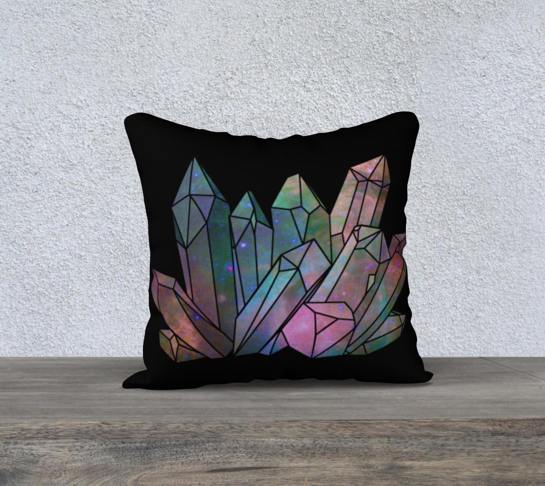 Cosmic Crystals Unicorn Rainbow Aura 18x18 Pillow Case Black preview