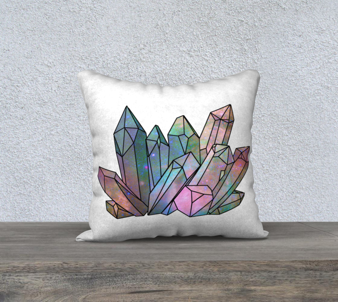 Cosmic Crystals Unicorn Rainbow Aura 18x18 Pillow Case - Natural preview