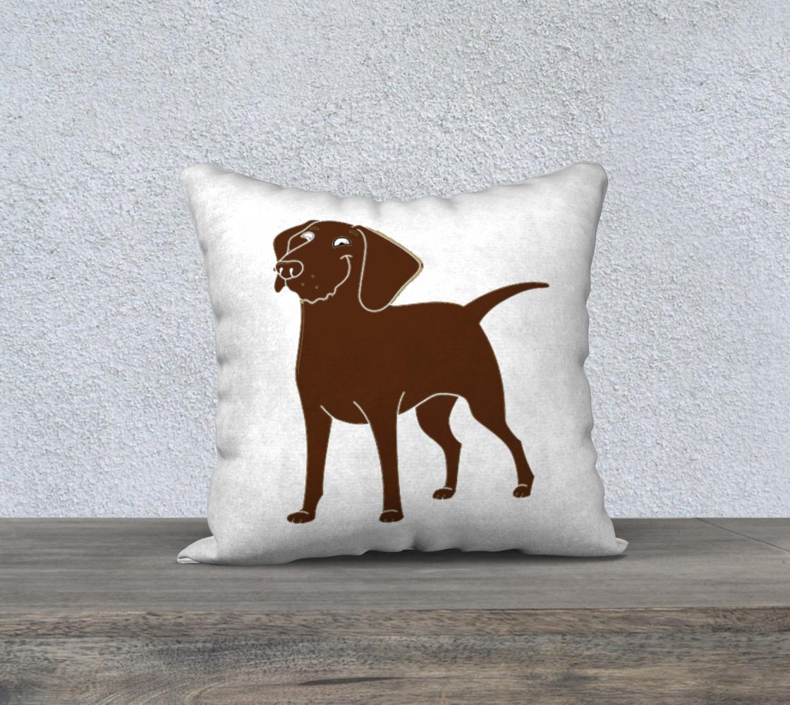 Labrador Retriever chocolate cartoon 18 x 18 pillow case preview #1